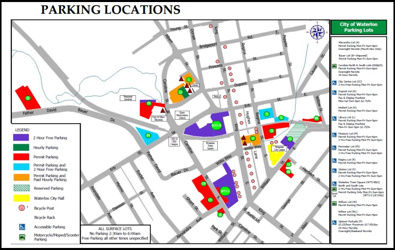 Parking Locations Uptown Waterloo